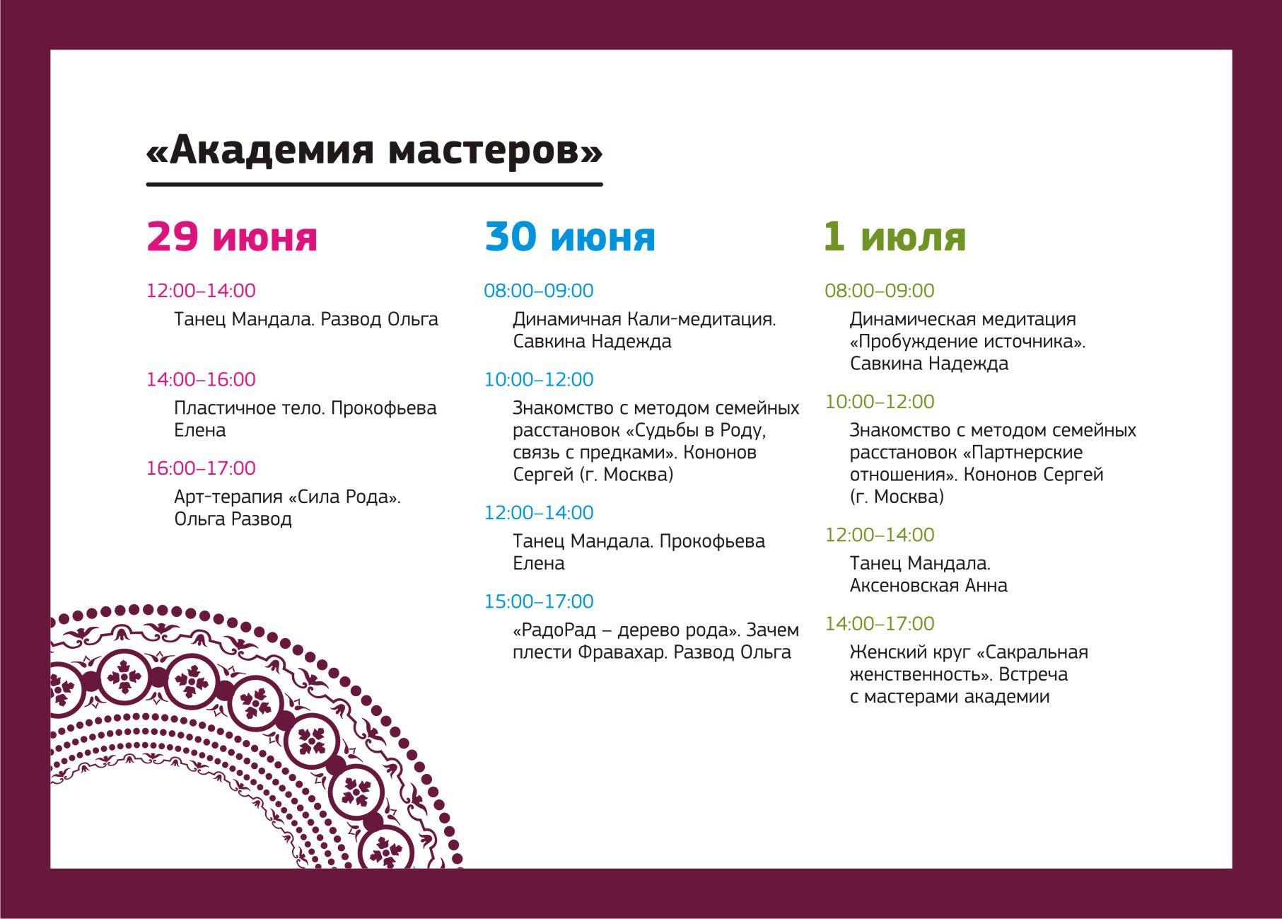 Академия мастеров расписание